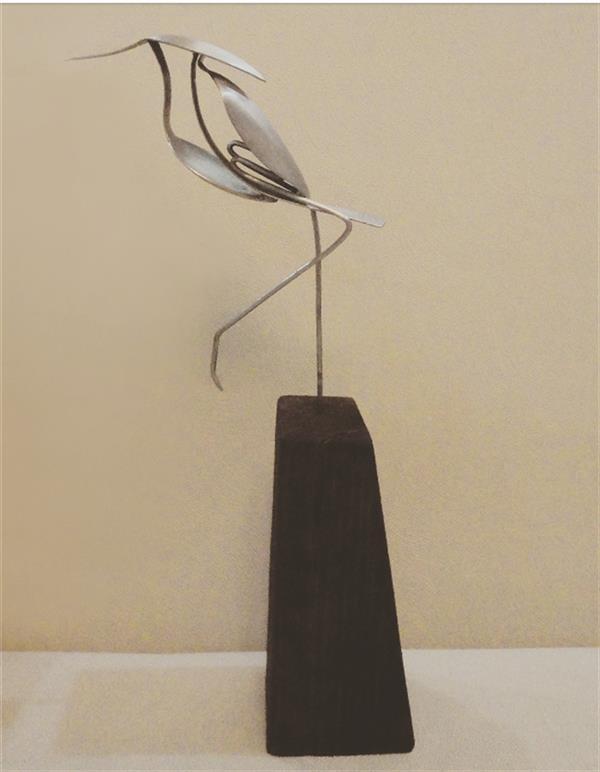 هنر سایر محفل سایر هنر ها سحر داسدار مجسمه فلزی ، پایه چوب