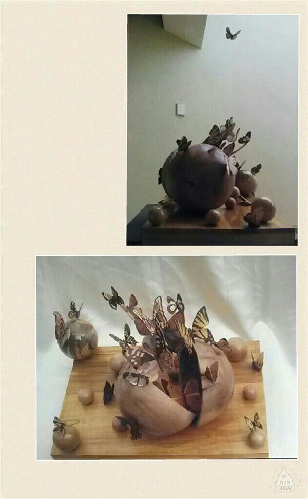 هنر سایر محفل سایر هنر ها پروانه سادات میرآفتابیان نام: عروج سال ساخت :1386 مجسمه باچوب و پروانه ها معرق شد ابعاد تقریباً 45*55