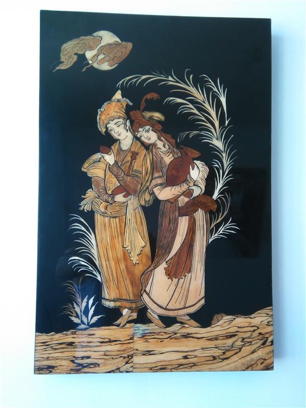 هنر سایر محفل سایر هنر ها مجتبی ایوبی معرق منیاتور لیلی ومجنون ابعاد ۶۵×۴۳