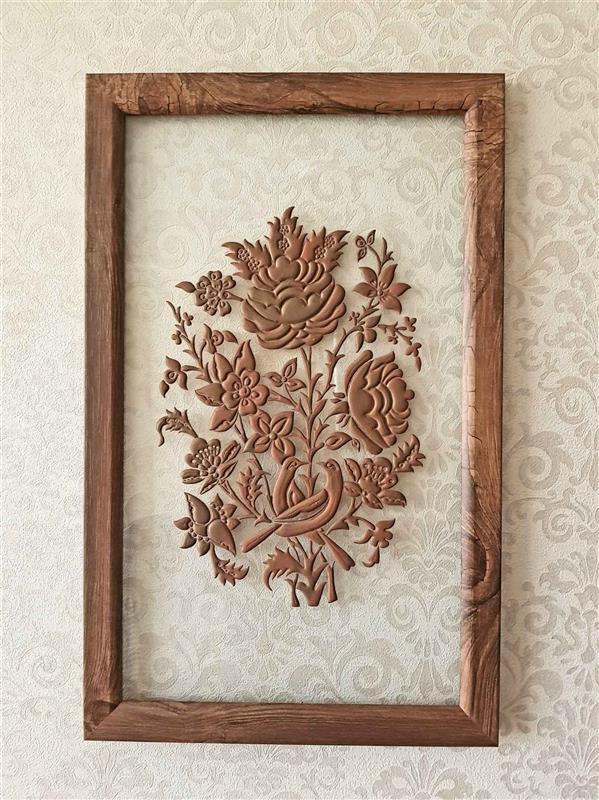 هنر سایر محفل سایر هنر ها سینا لطف آور Size : 45 × 55 گل و مرغ روی شیشه #لایه_چینی #عشق #Clay_layering