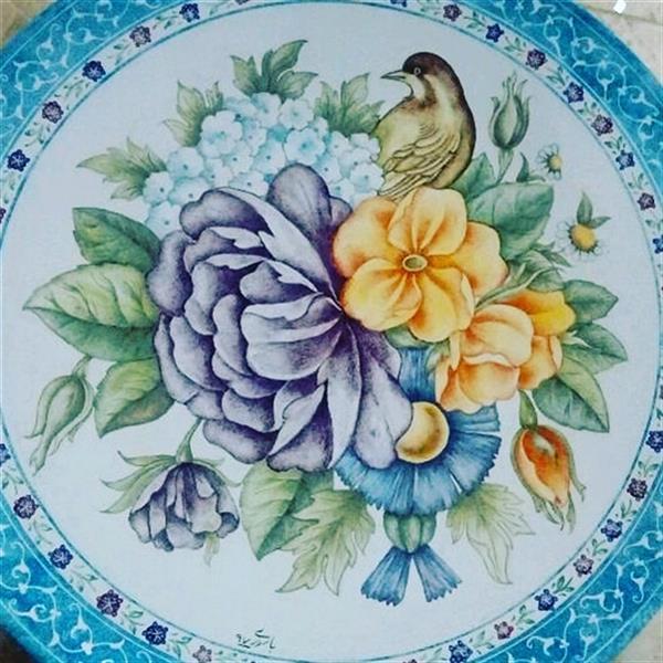 هنر سایر محفل سایر هنر ها زینب باسوری بشقاب میناکاری 16 سانتی متری نقاشی گل و مرغ