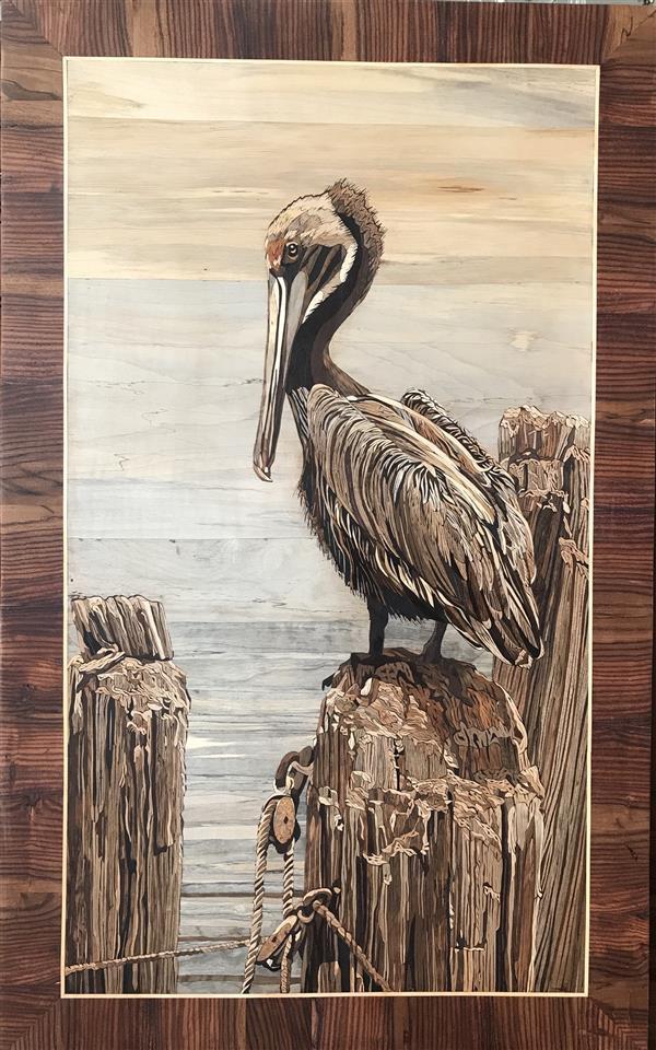 هنر سایر محفل سایر هنر ها سمانه هلالی تابلو معرق چوب. تکنیک تفکیک رنگ. استفاده از چوبهای افرا و گردو .