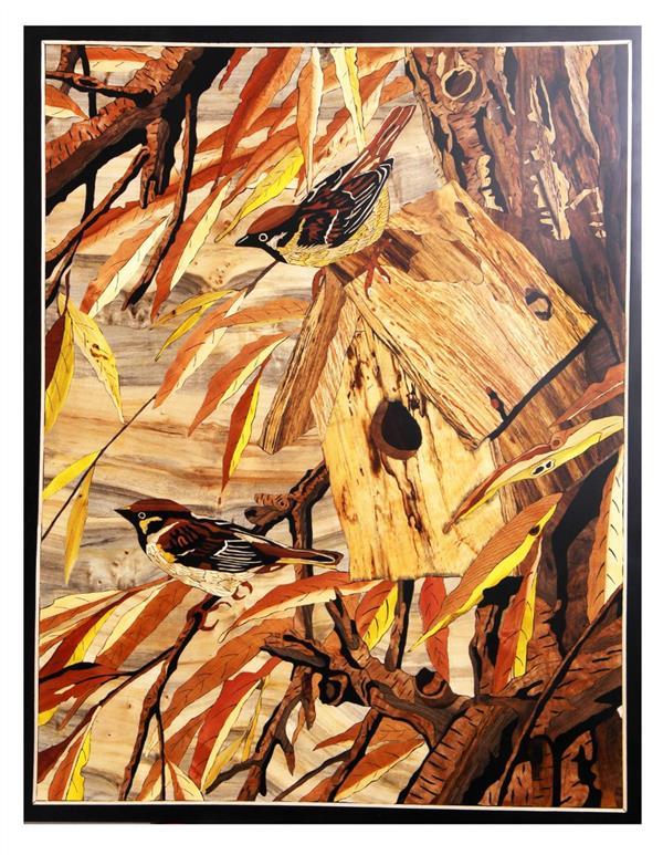 هنر سایر محفل سایر هنر ها سعید محمدی خوشدل تابلو معرق تمام چوب.پلی استر شده و رنگ شده ابعاد ۱۰۰×۷۰ استفاده از چوب های گردو،افرا،عناب،انجیلی،زرشک،انار،سرخدار،ممرز،افرا باخته