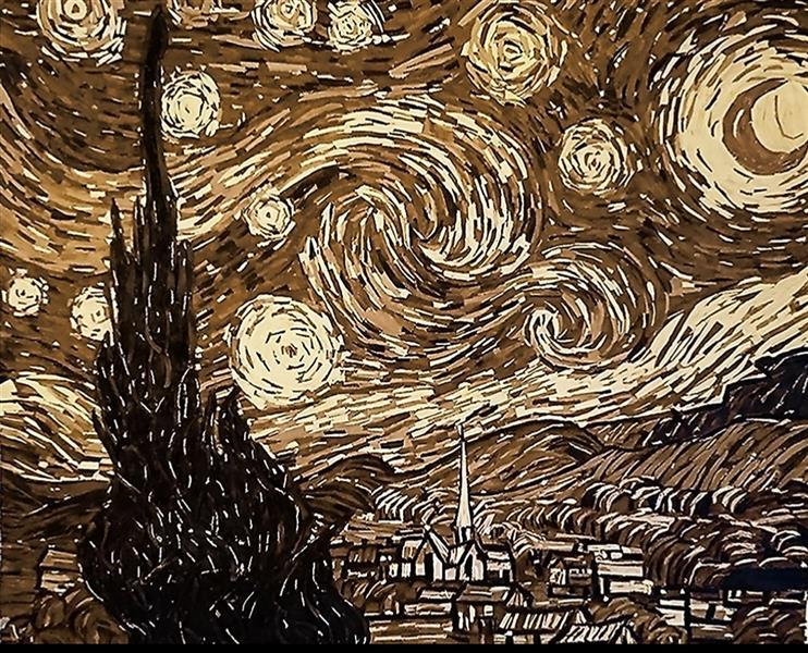 هنر سایر محفل سایر هنر ها پروین فتاحی زاده  شب پرستاره تکنیک:کلاژ با خرده های چوب قطع110×123