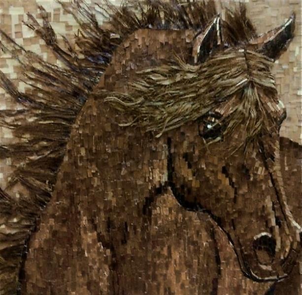 هنر سایر محفل سایر هنر ها پروین فتاحی زاده  اسب تکنیک :کلاژ با خرده های چوب قطع :100×80