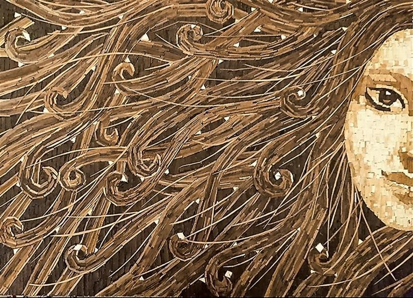 هنر سایر محفل سایر هنر ها پروین فتاحی زاده  نام اثر :مهتاب تکنیک :کلاژ با خرده های چوب قطع :50×70