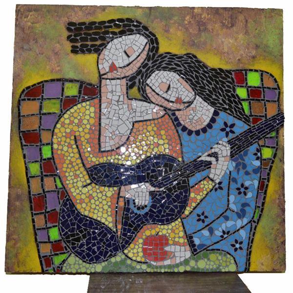 هنر سایر محفل سایر هنر ها مریم موذن تابلوهای معرق کاشی شکسته  هنر نفیس و اصیل ایرانی از عصر صفویه تا به امروز تماما ساخت دست و از جنس کاشی های نفیس ایرانی ابعاد طرح لیلی و مجنون : ۶۰×۶۰