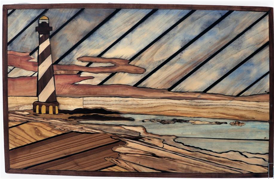 هنر سایر محفل سایر هنر ها فاطمه اسماعیلی تابلو فانوس دریایی ، معرق مدرن تمام چوب ، کار رنگ طبیعیه خود چوب میباشد