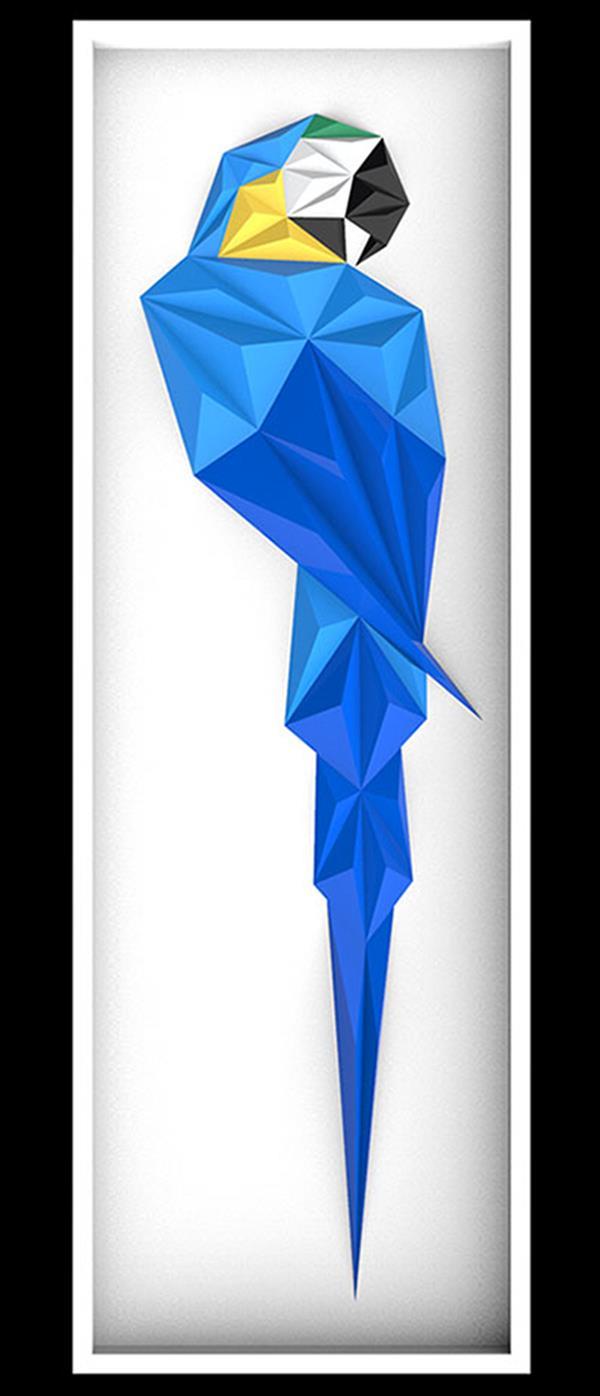هنر سایر محفل سایر هنر ها امیر بابائی تابلو نقش برجسته (مثلث بندی با تکنیک اوریگامی ) خلق اثر : 1399 نام اثر: blue macaw  متریال : مقوا فابریانو (220g) خلق اثر : امیر بابائی
