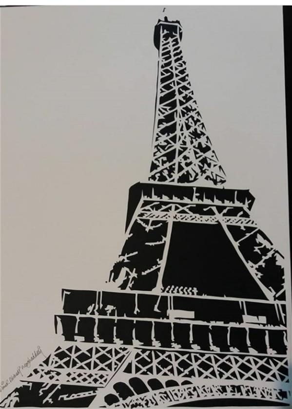 هنر سایر محفل سایر هنر ها امیر عباسی مقدسی Cutting paper technique مقوا فابریانو ۱۳۹۹ Eiffel tower