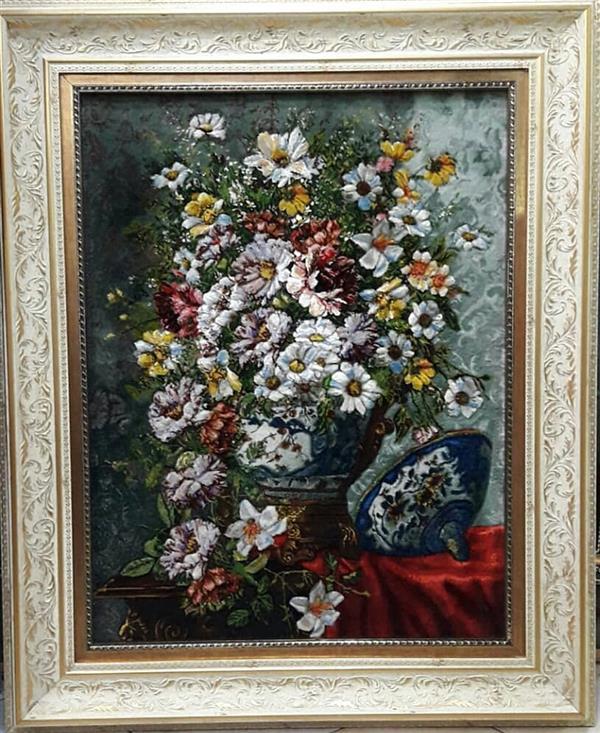 هنر سایر محفل سایر هنر ها leila-h_art تابلوفرش دستبافت، پرداخت برجسته، طرح گل و قندان، گل ابریشم، ابعاد ۶۰ در ۸۰، هنرمند: سمیه حسینی