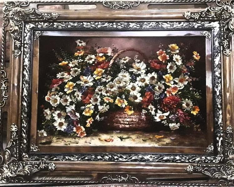 هنر سایر محفل سایر هنر ها leila-h_art تابلوفرش دستبافت،  طرح گل و سبد، چله پنبه، گل ابریشم، پرداخت برجسته، قاب چوب، ابعاد ۶۰ در ۹۰، هنرمند: سمیه حسینی