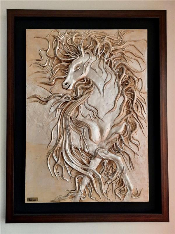 هنر سایر محفل سایر هنر ها رخشانه ضرابی  تکنیک نماحجم ، برجسته با خمیر  نام تابلو : اسب سفید آرزو ها  #اسب #خمیر #نما_حجم