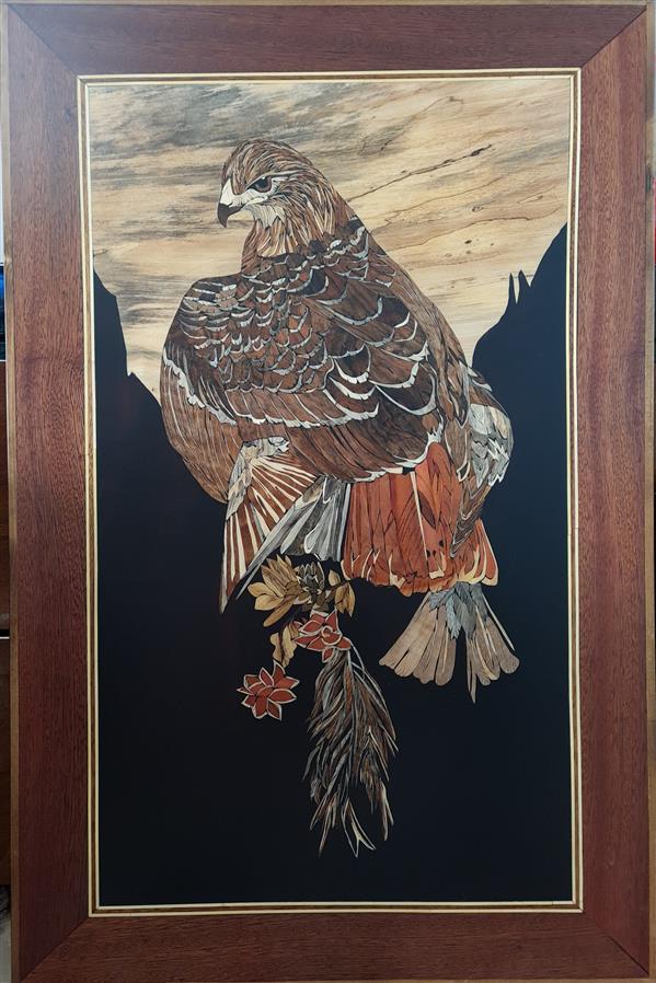 هنر سایر محفل سایر هنر ها فاطمه وصالی  #تابلومعرق تمام چوب سال ساخت ۱۳۹۹ تکنیک تفکیک رنگ ،ابعاد ۷۰*۱۰۰ نام طرح:شاهین