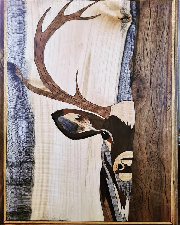 هنر سایر محفل سایر هنر ها فاطمه وصالی  #تابلو_هنری  #معرق_چوب  ابعاد۳۰*۴۰ تکنیک تفکیک رنگ، طرح گوزن،دارای قاب چوبی