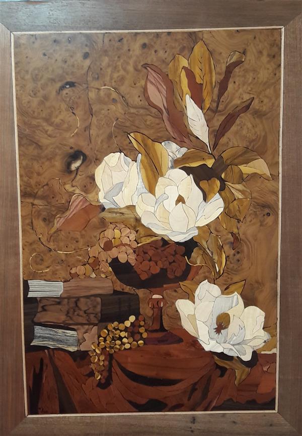 هنر سایر محفل سایر هنر ها فاطمه وصالی  تابلو معرق تمام چوب با،تکنیک تفکیک رنگ،چوب های استفاده شده:جوش سنجد،نارنج،عناب،افرا و ...