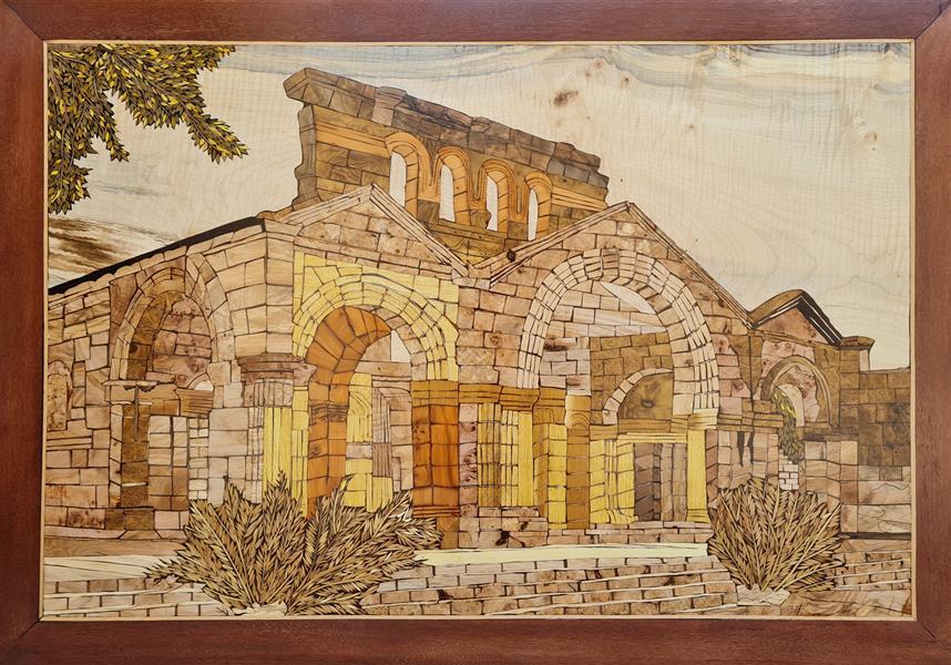 هنر سایر محفل سایر هنر ها فاطمه وصالی  تابلو معرق طرح کلیسا (کلیسا سنت سیمئون) در سوریه #معرق_تفکیک_رنگ #معرق_کاری #تابلو_مدرن
