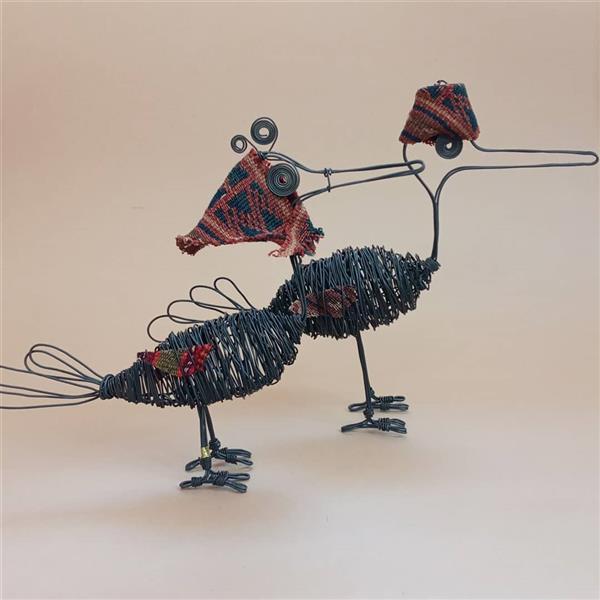 هنر سایر محفل سایر هنر ها فاطمه یعقوبی #مجسمه#پرنده#جفت#گلیم#دستباف