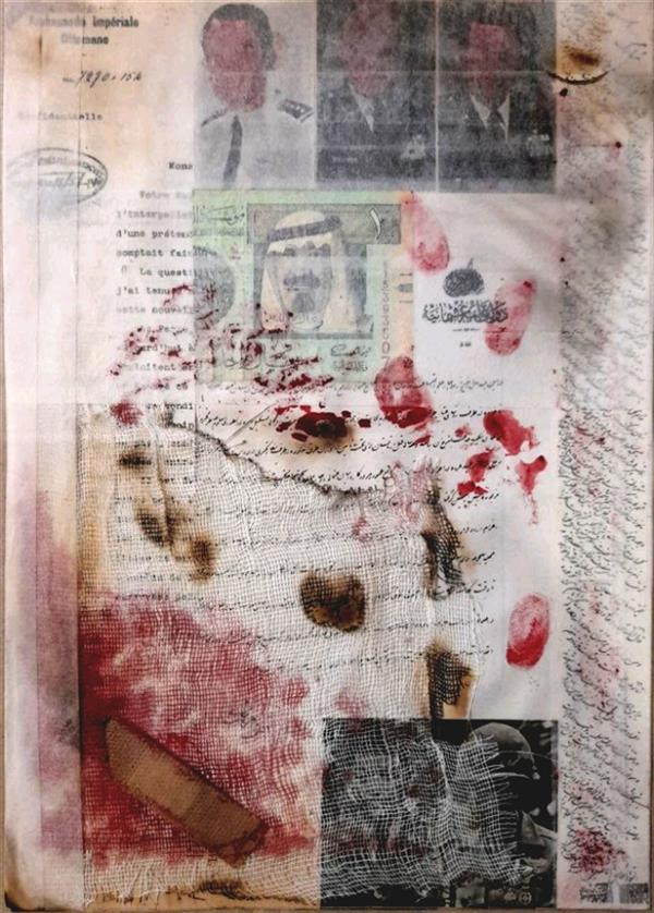 """هنر سایر محفل سایر هنر ها عماد حشمتیان کلاژ هنرمند : عماد حشمتیان عنوان اثر :  """"دلار در خون"""" """"Dollars in the blood"""""""