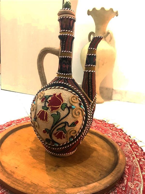 هنر سایر محفل سایر هنر ها Farzaneh_ek #کوزه_گلیمی ساخته شده با پارچه دستباف و جاجیم و فرش و گلیم قدمت دار kilim vase