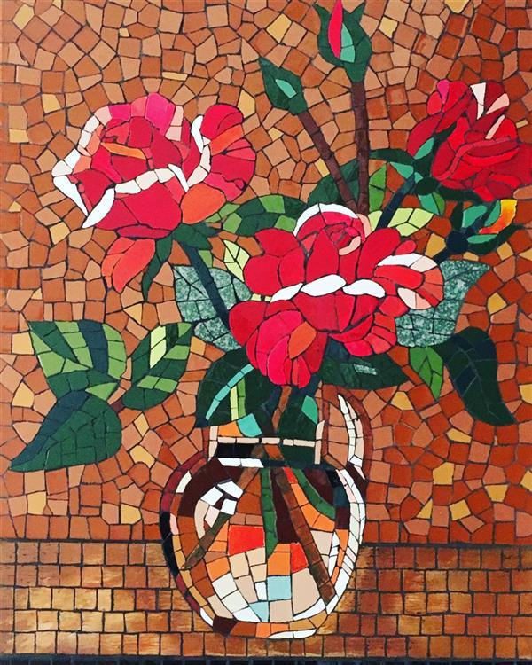 هنر سایر محفل سایر هنر ها محمدامین بدیعی #تابلو _دسته _گل _محمدی در اندازه 60x70 سانتیمتر ساخته شده با تکنیک #معرق کاشی