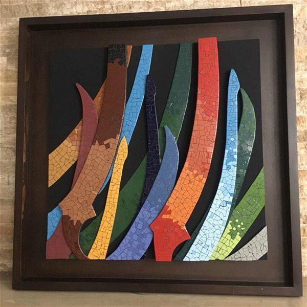 هنر سایر محفل سایر هنر ها محمدامین بدیعی سیاه مشق سرامیکی ، به ابعاد 100 سانتی متر در 100 سانتی متر ساخته شده از قطعات سرامیک بصورت برجسته ، قاب چوبی