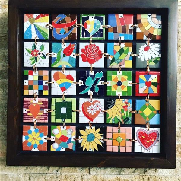 هنر سایر محفل سایر هنر ها محمدامین بدیعی تابلو چهل تکه اجرا شده با تکنیک معرق کاشی اندازه 50 سانت در 50 سانت