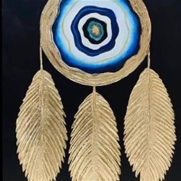 هنر سایر محفل سایر هنر ها ندا گودرز نقاشی برجسته با تکنیک ورق طلا و رنگ روی بوم ابعاد 60 در 60 سانتیمتر