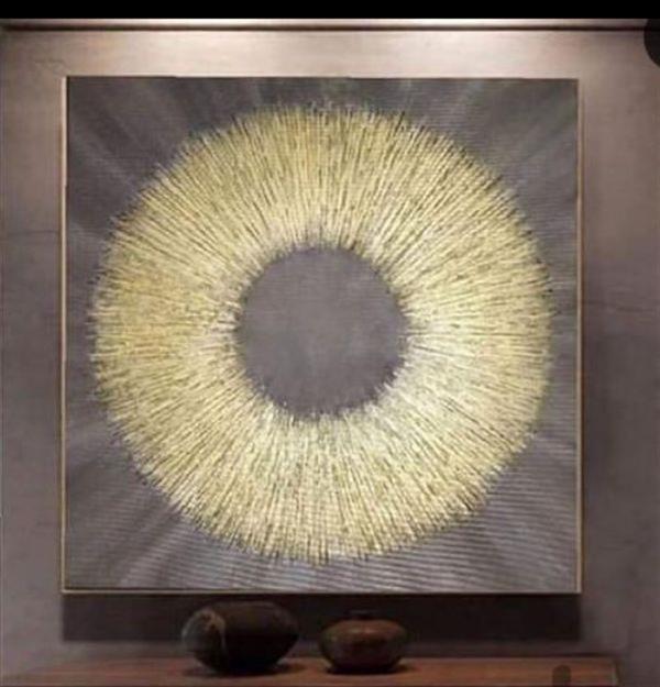 هنر سایر محفل سایر هنر ها ندا گودرز تابلو برجسته دکوراتیو مدرن با تکنیک ورق طلا در سایز مربع 60 در 60سانتیمتر