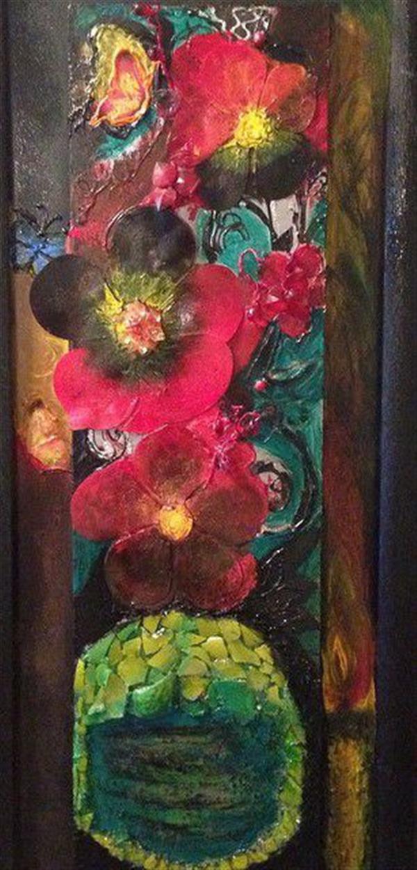 هنر سایر محفل سایر هنر ها ندا گودرز نقاشی کلاژ (برجسته) با رنگ و پاستل  و شیشه و طلق با طرح شمع و گل و پروانه