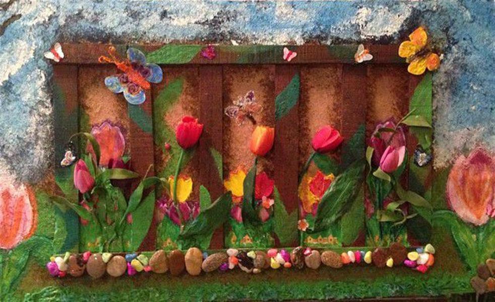 هنر سایر محفل سایر هنر ها ندا گودرز تابلوی کلاژ برجسته با چوب و پارچه و رنگ و سنگ های طبیعی