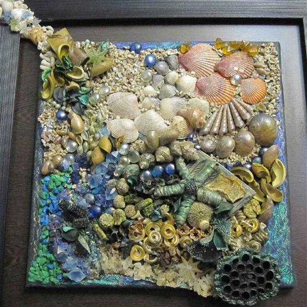 هنر سایر محفل سایر هنر ها ندا گودرز تابلوی کلاژ دریایی چیدمان سنگ و صدفهای طبیعی