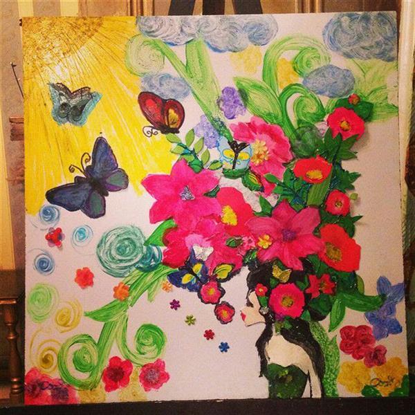 هنر سایر محفل سایر هنر ها ندا گودرز نقاشی سبک کلاژ (برجسته) با رنگ و ماژیک و مقوا و خمیر مخصوص و ... ابعاد ۴۰ در۴۰ سانتیمتر