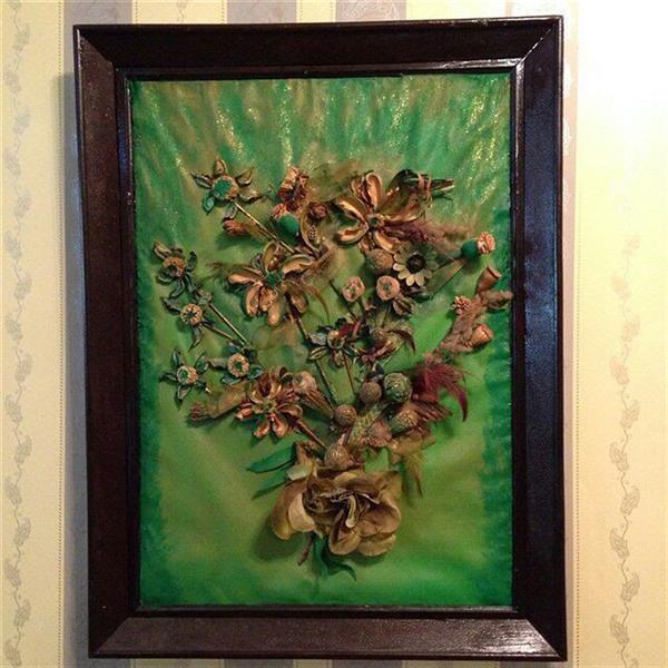 هنر سایر محفل سایر هنر ها ندا گودرز تابلو کلاژ ساخته شده از گلهای خشک طبیعی