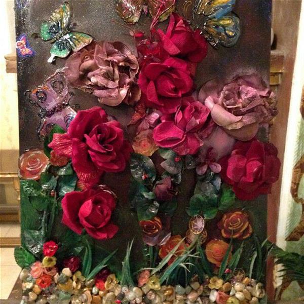 هنر سایر محفل سایر هنر ها ندا گودرز تابلو کلاژ کار شده روی چوب ام دی اف با سنگهای طبیعی و گلها از پارچه ساخته شده اند در ابعاد 40*60 سانت