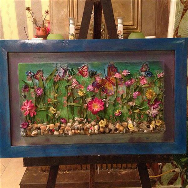 هنر سایر محفل سایر هنر ها ندا گودرز تابلوی کلاژ دشت گل ترکیبی از نقاشی بارنگ و پارچه و سنگهای طبیعی #فروخته_شد
