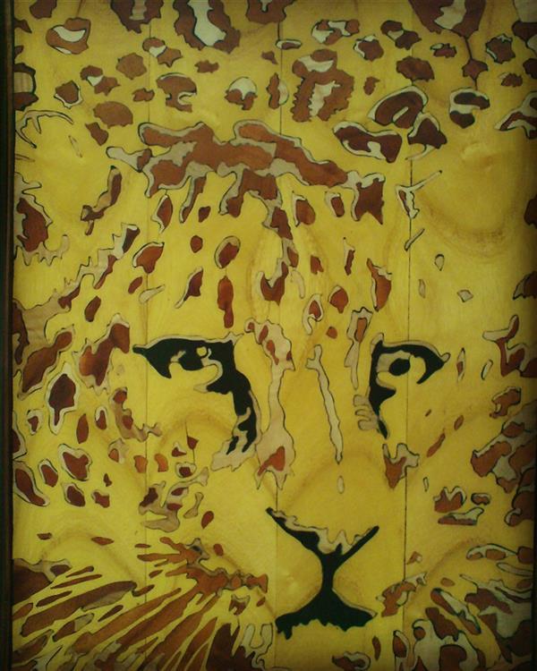 هنر سایر محفل سایر هنر ها مرتضی احمدی تابلو معرق پلنگ در ابعاد 30*40
