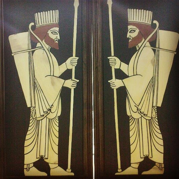 هنر سایر محفل سایر هنر ها مرتضی احمدی تابلو معرق سربازان کوروش در ابعاد 30*12