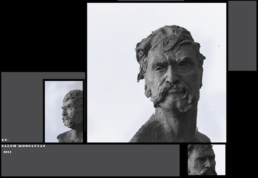 هنر سایر محفل سایر هنر ها صالح موسویان پرتره اساطیر شاهنامه ۱۳۹۱ فایبر  پتینه برنز مقیاس ۱.۵ برابر