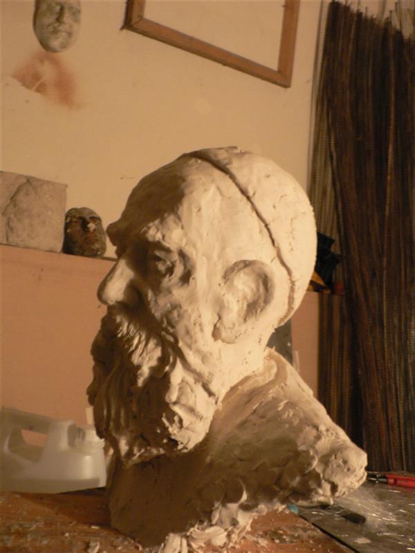 هنر سایر محفل سایر هنر ها صالح موسویان مدلسازی پرتره پرتره ابومسلم خراسانی ۱۳۹۱ فایبر  پتینه برنز مقیاس ۱.۵ برابر
