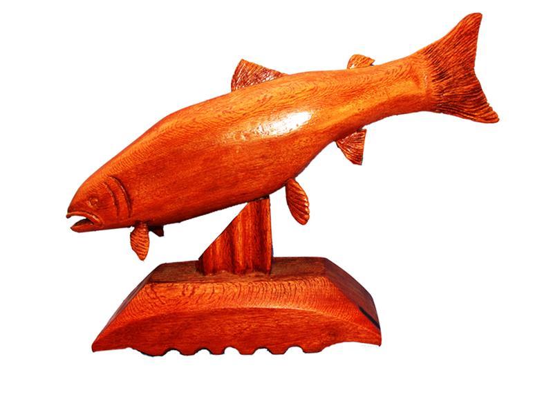 هنر سایر محفل سایر هنر ها faryotab ماهی قزل آلا متریال:چوب وارداتی هندی  هنر دست سایز:طول 35,عرض:6ارتفاع :15