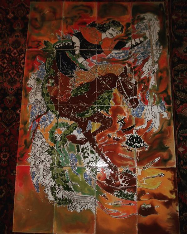 هنر سایر محفل سایر هنر ها آذر نگار شور .اندازه ۱متر در ۲متر .کار در روی کاشی ۹میل با پخت در دمای ۹۵۰درجه