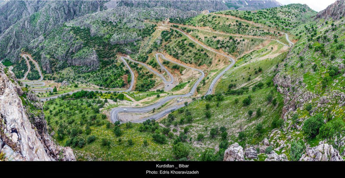 هنر عکاسی بهار - جاده زیبای روستای بلبر در اورامان تخت، استان کردستان