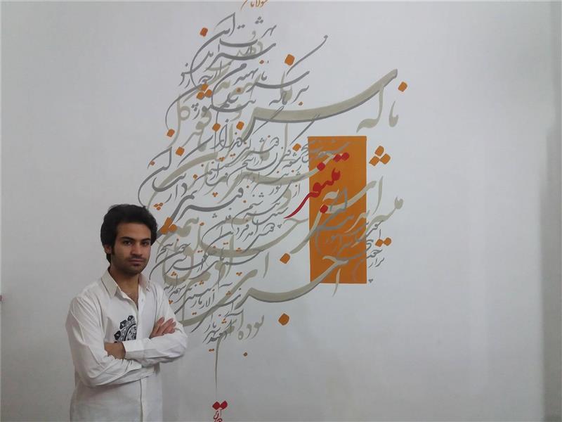 هنر خوشنویسی سیاه مشق رحیم دودانگه سیاه مشق اشعار مولانا روی دیوار در ابعاد دومتر در دومتر سفارش در دیوار دلخواه
