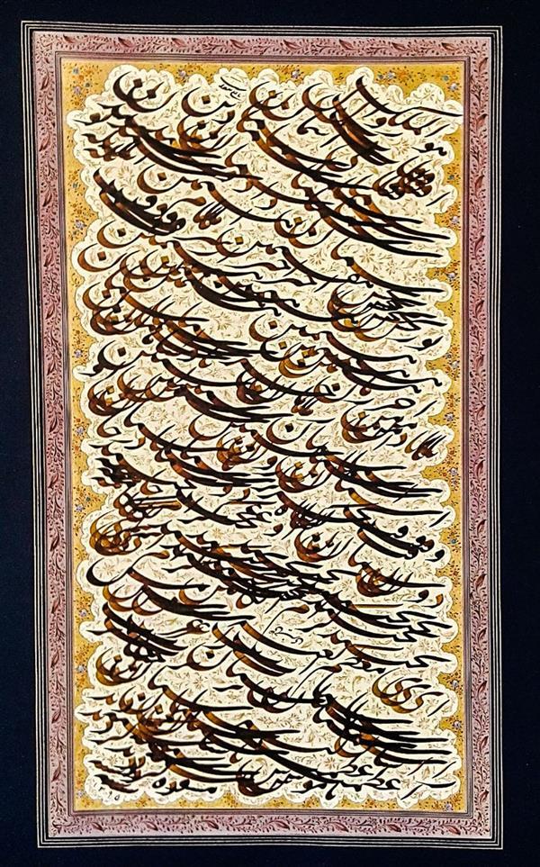 هنر خوشنویسی اشعار خیام علی خیری حبیب آبادی چند رباعی از خیام