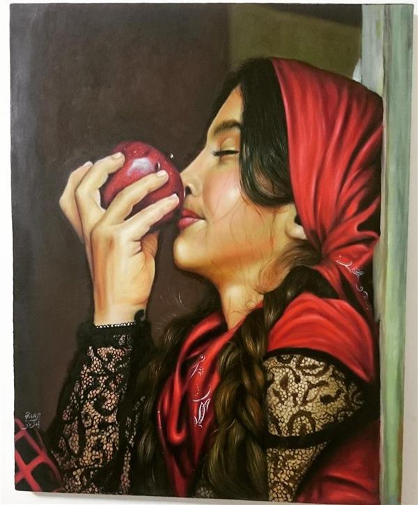 هنر نقاشی و گرافیک طرح گرافیکی عاشقانه Hadipakati  تو در تنهایی من کدام سیب را میبویی!  تنهایی بزرگ من، من سیب را در آسمان هزار بار چرخاندم، یک شاید در چرخش این گوی چرخان گذاشتم  عطر اش عطر من بود رویای من، اینک سیب من سرخ شده است از نگاه تو مرا همچون سیبم بو بکش انقدر احساس کن مرا که حسرت فراموش شود در من، آری وقتی که چشمانت را از مست شدن بوی سیبم میبندی احساس آرامش میکنم در وجودم، وقتی حواست نیست جوری بهت در آن لحظه خیره میشوم که تمام در های زنجیر شده ی باغ انار که به دست دیو سفید که تو را حبس کرده باز خواهد شد فقط کافیست تو هم مرا نگاه کنی، ببین مرا باور کن من در اعماق وجودم رازهایی دارم از نسیم شمالی نرم تر چنان که رموز من چون همین نسیم گونه هایت را نوازش خواهد کرد،بی آنکه لحظه ای فکر کنی به نداشته هایت، سیب مال تو است بویش کن من آنرا برای تو چیده ام (دلنوشته ای از من موضوع نقاشی 😊)