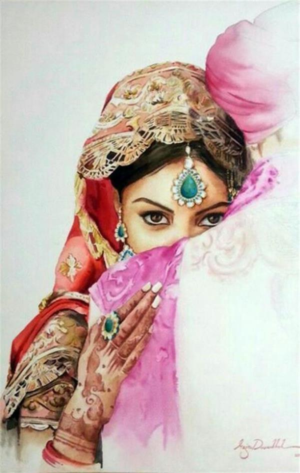 هنر نقاشی و گرافیک طرح گرافیکی عاشقانه azita عروس هندی  تکنیک آبرنگ