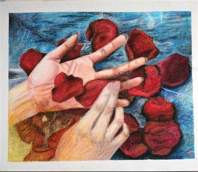 هنر نقاشی و گرافیک طرح گرافیکی عاشقانه راضیه آثم برای کندن گل سرخ ارّه آوردهای؟ چرا ارّه؟! فقط بگو تو! هی تو... خودش میافتد و میمیرد. . سایز ۳۲×۲۶ پاستل روغنی ۱۳۹۶