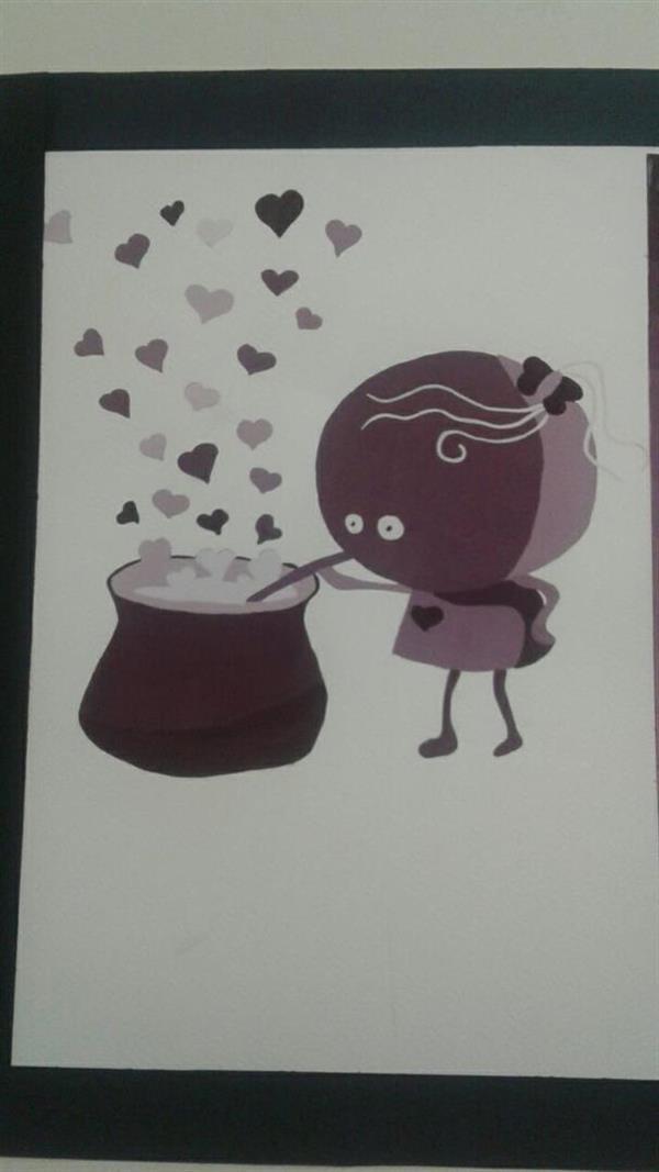 هنر نقاشی و گرافیک طرح گرافیکی عاشقانه narges_art_74 نقاشی با گواش به صورت تنالیته رنگی بنفش