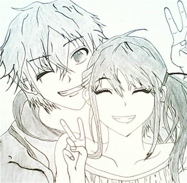 هنر نقاشی و گرافیک طرح گرافیکی عاشقانه Tada_bh انیمه عاشقانه دو زوج جوان در کنار هم هنگام عکس گرفتن
